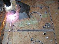 Pálení komory lisu - ocel 30 mm - rychlost - 0,5 m/min